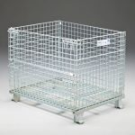 Wire container with fold-down, closed in photo, sold by Golden State Material Handling in the San Francisco Bay Area