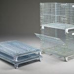 Wire containers stack and fold compactly, sold by Golden State Material Handling