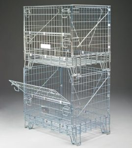 Fold down wire containers stacked on top of each other