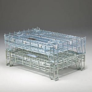 Wire containers fold down for easy storage