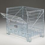 Fold down wire container sold by Golden State Material Handling