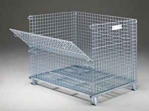 Folding wire container sold by Golden State Material Handling
