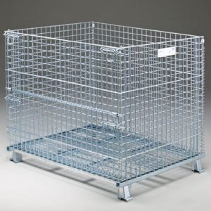 Wire container with closed folding door