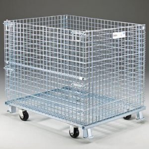 Wire container with casters sold by Golden State Material Handling in the SF Bay Area