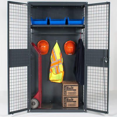 Industrial storage locker with equipment - WireCrafters sold by Golden State Material Handling