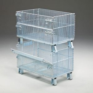 Stacked wire containers with folding doors, stacked on top of each other