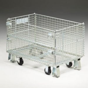 Wire container with casters sold by Golden State Material Handling