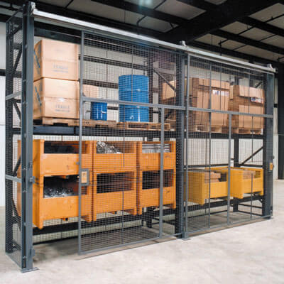 Pallet rack enclosure with sliding doors - WireCrafters sold by Golden State Material Handling