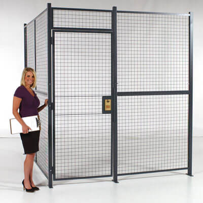Wire partition with RapidWire and hinged door - WireCrafters sold by Golden State Material Handling