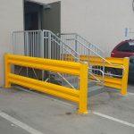 Handle It heavy duty duard rails around stairway outside warehouse in Hayward, CA