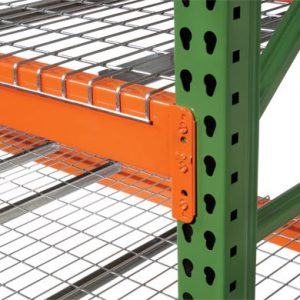 Closeup of upright beams of pallet racking - Golden State Material Handling in Hayward, CA