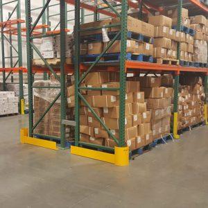 Photo of pallets on pallet racks inside Golden State Material Handling warehouse in Hayward, CA