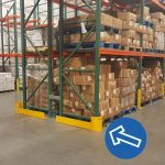 Pallet racks protected with Handle It rack protectors inside Golden State Material Handling warehouse