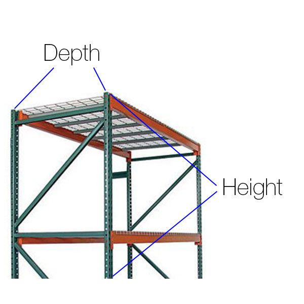 Depth and height diagram of pallet racking - Golden State Material Handling in the San Francisco Bay Area