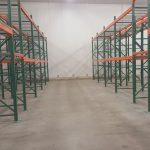 Rows of pallet racks inside Golden State Material Handling warehouse in Hayward, CA