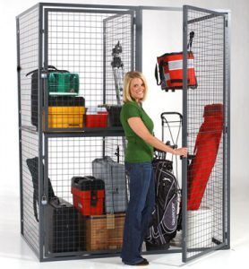 Tenant storage locker double tier, opened - WireCrafters sold by Golden State Material Handling