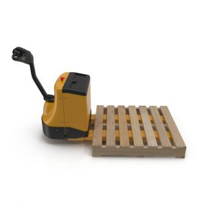 yellow pallet jack with pallet